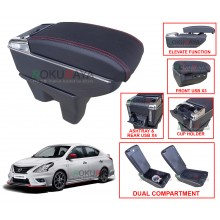 Nissan Almera N17 Custom Fit Multi Purpose USB Chrome Redline Leather Arm Rest Center Console Box