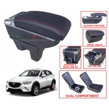 Mazda CX-3 CX3 2015 Custom Fit Multi Purpose USB Chrome Redline Leather Arm Rest Center Console Box