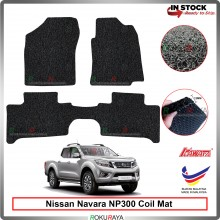 Nissan Navara NP300 D23 12mm Custom Fit Pre Cut PVC Coil Floor Mat Anti Slip Carpet Nail Spike (Black) (Kawata Made in Malaysia)