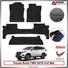 Toyota Rush 2018 12mm Custom Fit Pre Cut PVC Coil Floor Mat Anti Slip Carpet Nail Spike (Black) (Kawata Made in Malaysia)