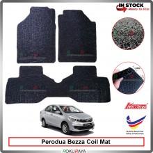 Perodua Bezza 12mm Custom Fit Pre Cut PVC Coil Floor Mat Anti Slip Carpet Nail Spike (Black) (Kawata Made in Malaysia)