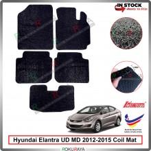 Hyundai Elantra MD UD (5th Gen) 2012-2015 12mm Custom Fit Pre Cut PVC Coil Floor Mat Anti Slip Carpet Nail Spike (Black) (Kawata Made in Malaysia)