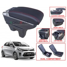 Kia Picanto JA (3rd Gen) 2017 Custom Fit Multi Purpose USB Chrome Redline Leather Arm Rest Center Console Box