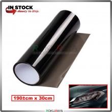 [30CM x 100CM] 3ply Car Motorcycle Tint Fog Head Lamp Brake Tail Light Vinyl Film Sticker Wrap (Light Black)