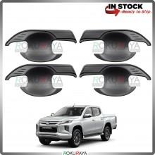 Mitsubishi Triton Facelift 2019 Door Handle Cover Garnish Trim ABS Plastic (MATT BLACK BOWL)