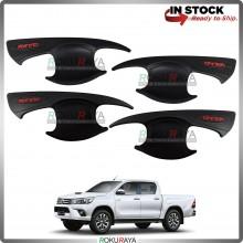 Toyota Hilux Revo Rogue Door Handle Cover Garnish Trim ABS Plastic (MATT BLACK BOWL)