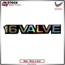 16VALVE (15cm x 2cm) Rainbow Epoxy Automobile Car Rear Back Emblem Logo Chrome Badge