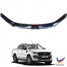 Ford Ranger (T7 2015 Model Only) OEM Front Hood Protector Bonnet Bug Visor Guard Cover With Brackets And Clips - Black