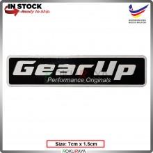 GEAR UP (7cm x 1.5cm) Stainless Steel Chrome Automobile Car Rear Back Emblem Logo Chrome Badge