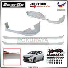Perodua Axia 2017-2019 Bodykit Original Gear Up ABS Plastic Clips Rubber Lining FULL SET SKIRT 4IN1
