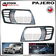 [CHROME] Mitubishi Pajero Exceed Super DLAA ABS Plastic Front Head Lamp Garnish Moulding Cover Trim Car Accessories Parts