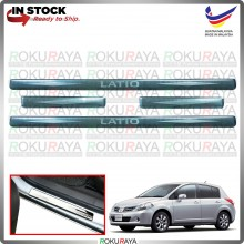 [BESI] Nissan Latio Stainless Steel Chrome Side Sill Kicking Plate Garnish Moulding Cover Trim Car Accessories