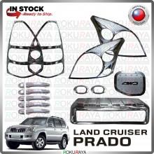 [CHROME] Landcruiser Prado J120 Signal Fuel Cap Side Mirror Door Handle Head Tail Lamp Garnish Moulding Cover Car Parts